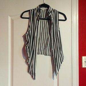 Garage Black and White Stripe Crop Top